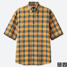 U프리미엄리넨와이드피트체크셔츠(반팔)B